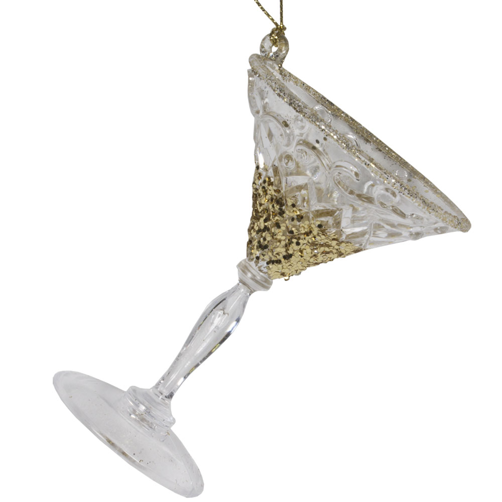 Acrylic Cocktail Glass Hanging Decoration With Gold Glitter Finish - 10cm