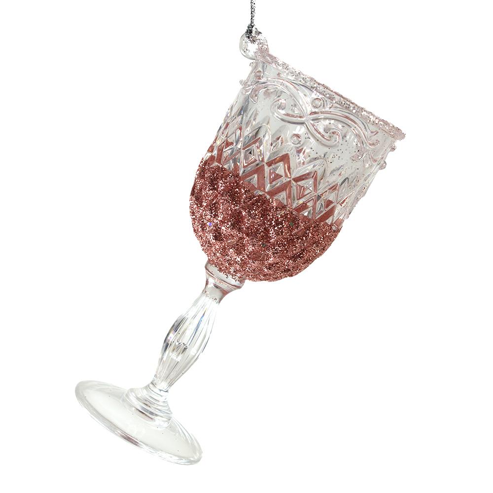 Acrylic Wine Glass Hanging Decoration With Rose Gold Glitter Finish - 10cm