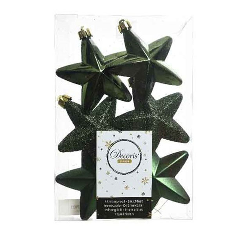 Pack Of 6 x 75mm Mixed Finish Shatterproof Star Hanging Decorations - Dark Green