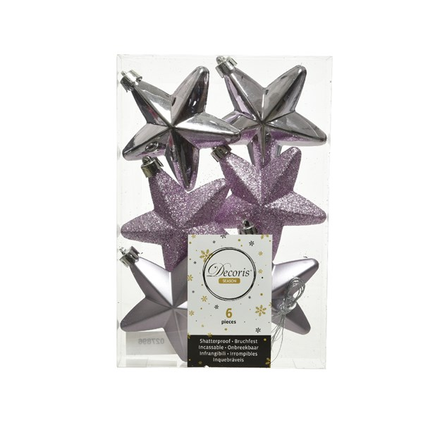 Pack Of 6 x 75mm Mixed Finish Shatterproof Star Hanging Decorations - Frosted Lilac