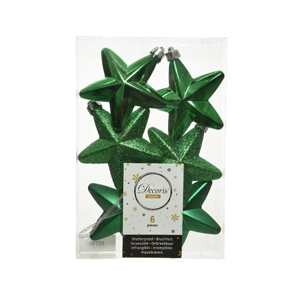 Pack Of 6 x 75mm Mixed Finish Shatterproof Star Hanging Decorations - Holly Green