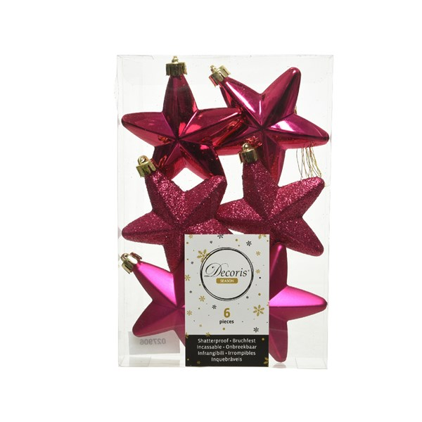 Pack Of 6 x 75mm Mixed Finish Shatterproof Star Hanging Decorations - Magenta Pink