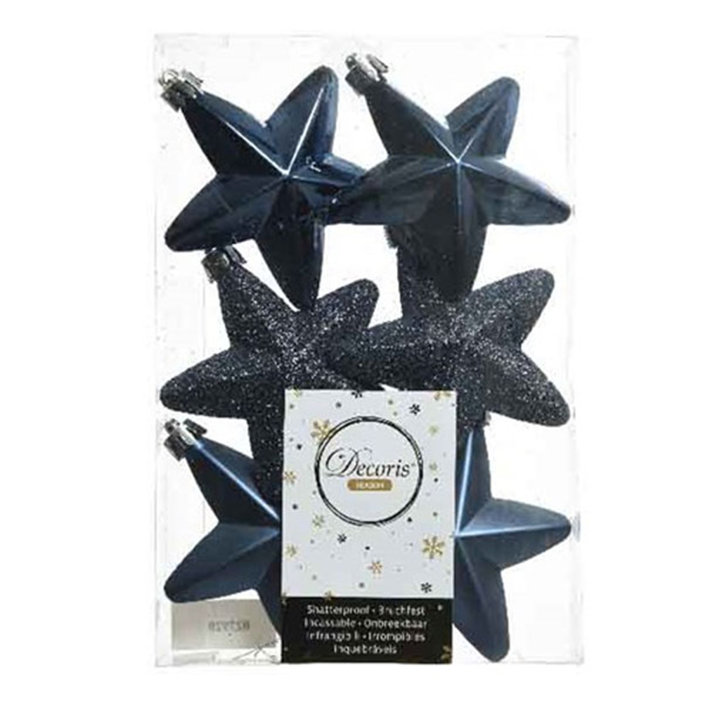 Pack Of 6 x 75mm Mixed Finish Shatterproof Star Hanging Decorations - Night Blue