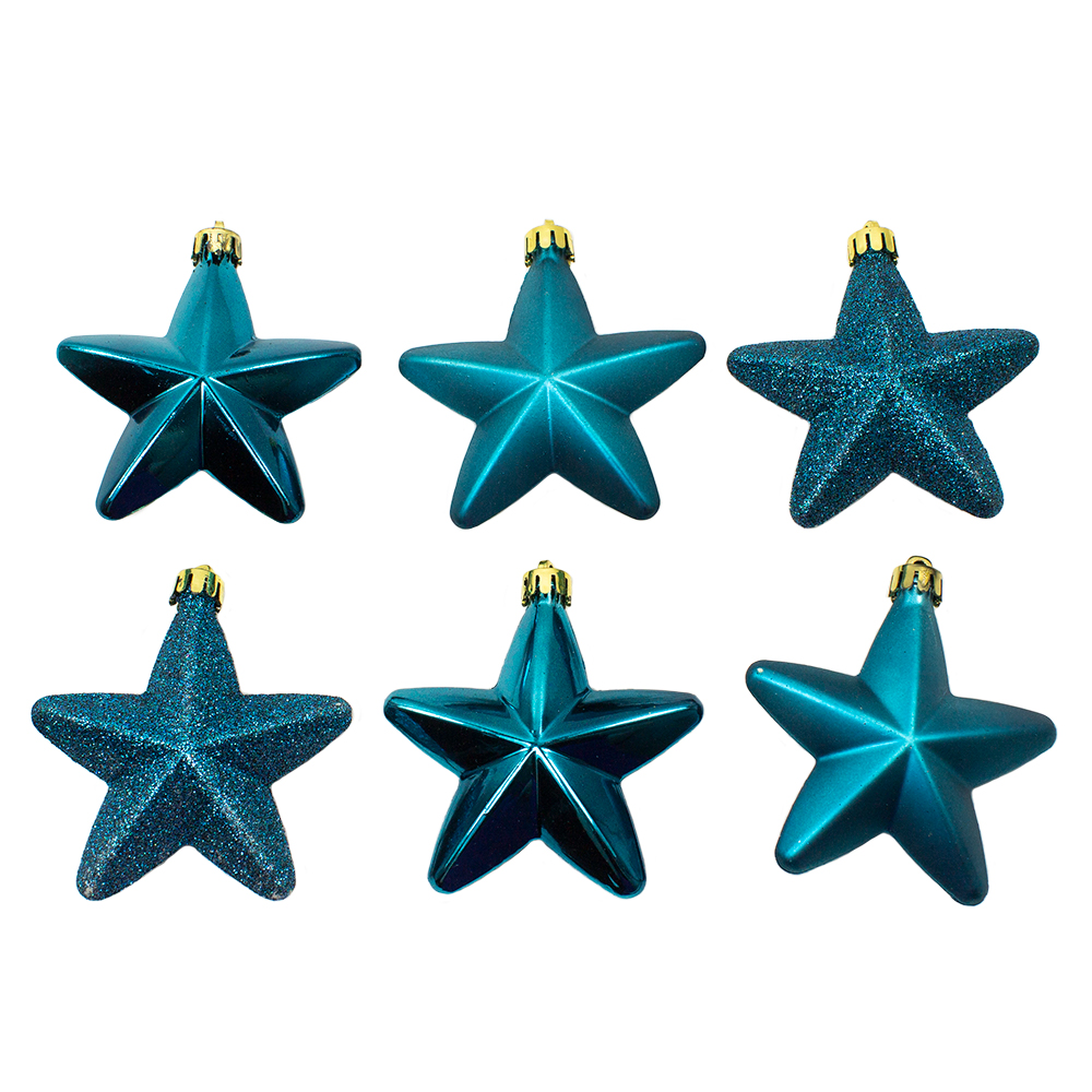 Pack Of 6 x 75mm Mixed Finish Shatterproof Star Hanging Decorations - Petrol Blue