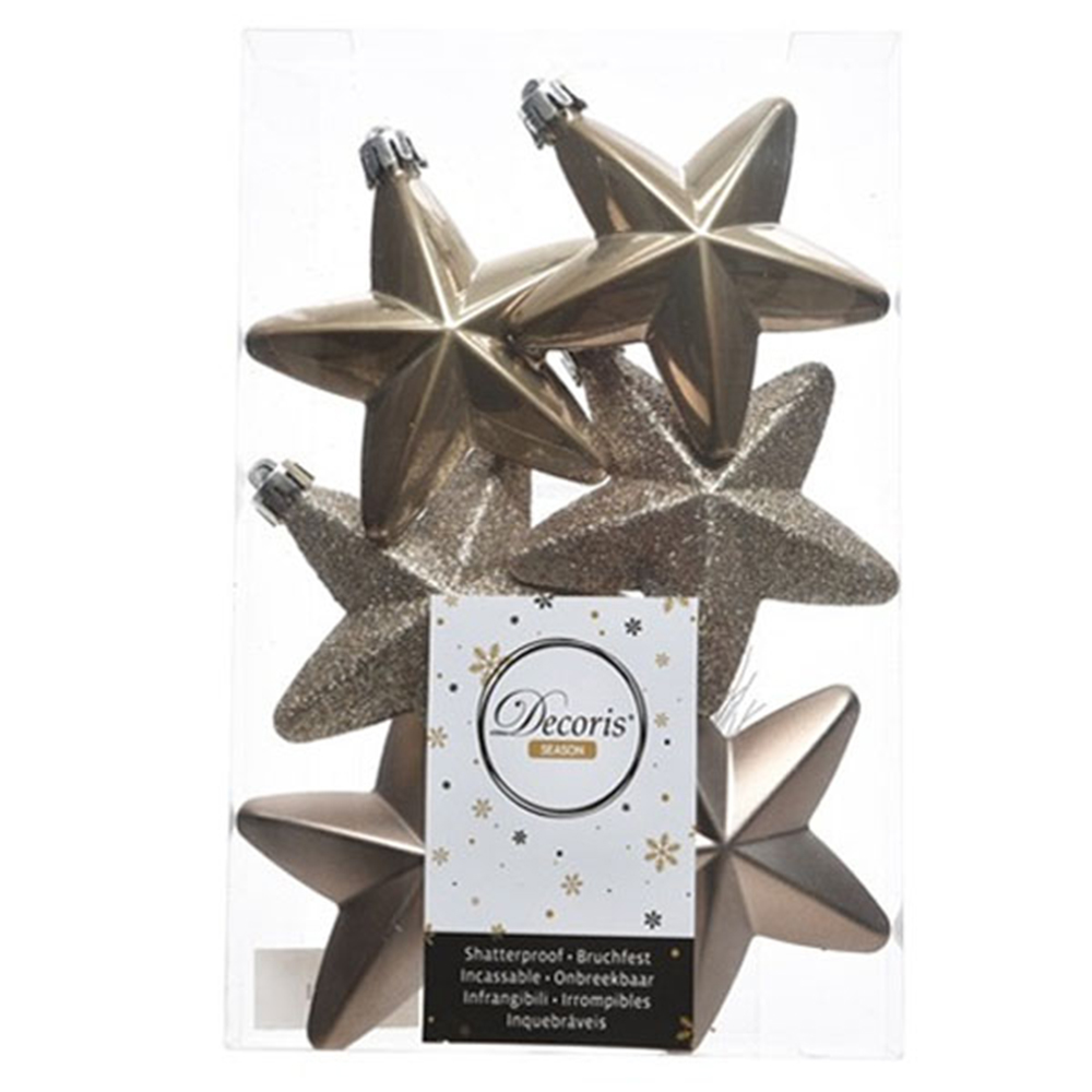 Pack Of 6 x 75mm Mixed Finish Shatterproof Star Hanging Decorations - Pale Brown