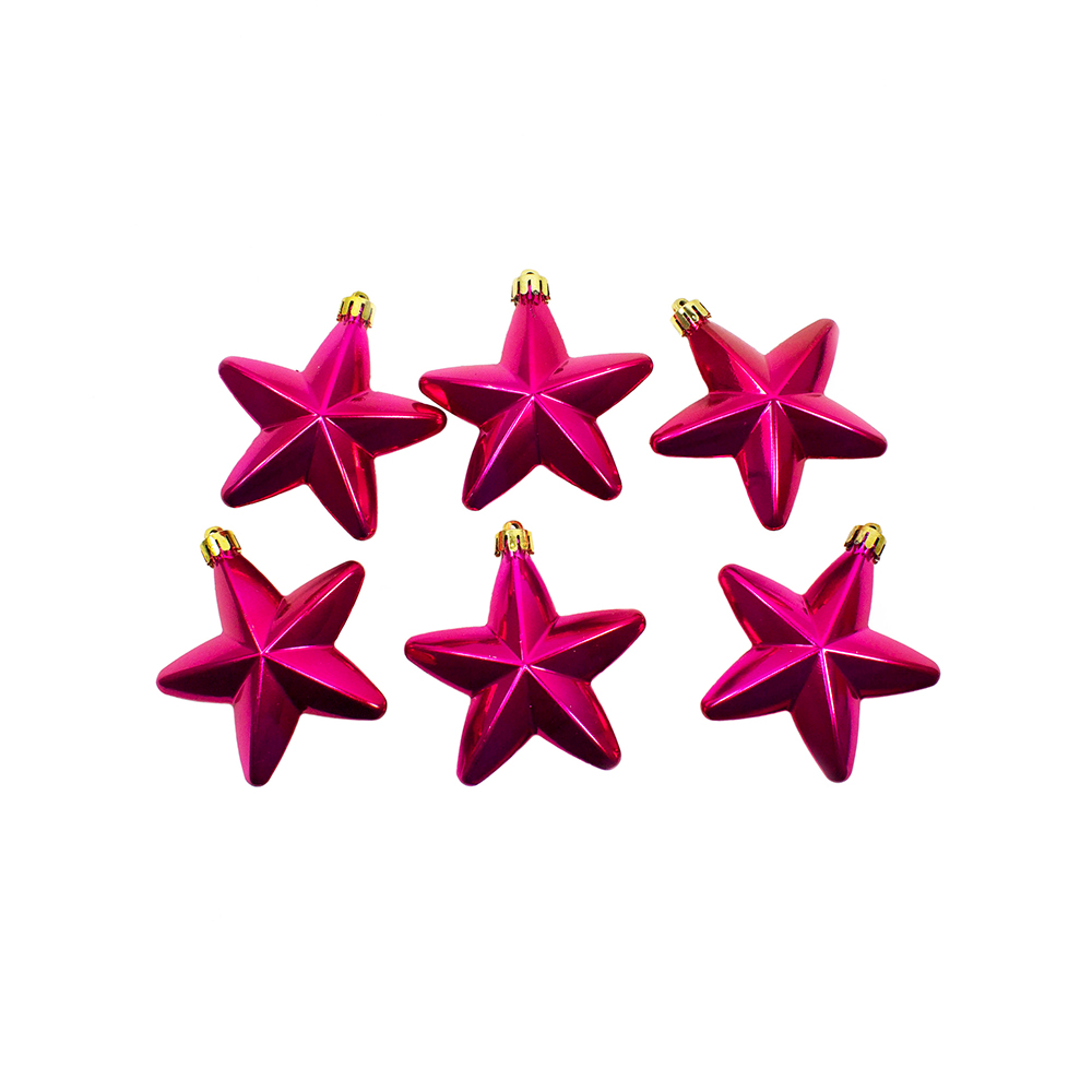 Pack Of 6 x 75mm Mixed Finish Shatterproof Star Hanging Decorations - Raspberry Pink