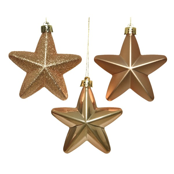 Pack Of 6 x 75mm Mixed Finish Shatterproof Star Hanging Decorations - Soft Caramel