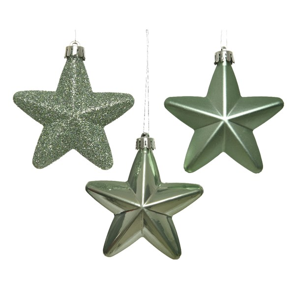 Pack Of 6 x 75mm Mixed Finish Shatterproof Star Hanging Decorations - Sage Green