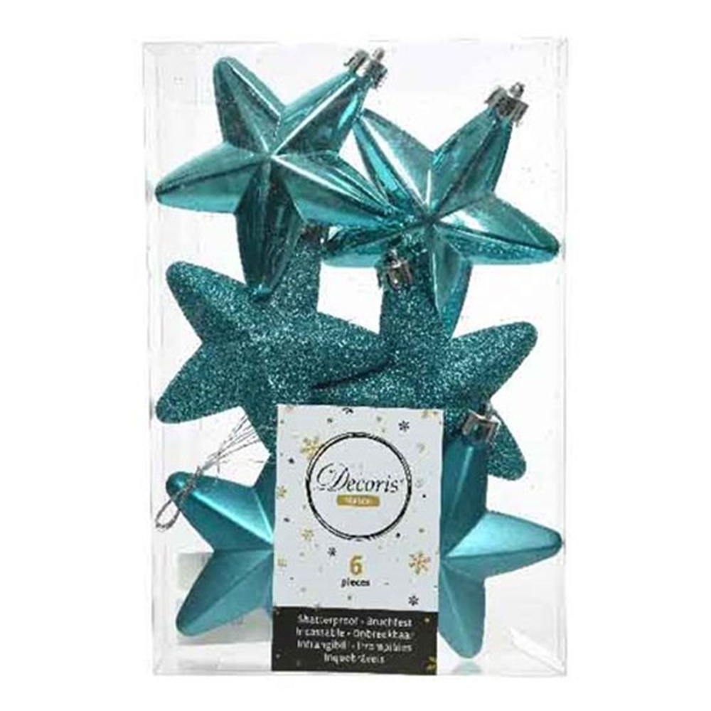 Pack Of 6 x 75mm Mixed Finish Shatterproof Star Hanging Decorations - Turquoise
