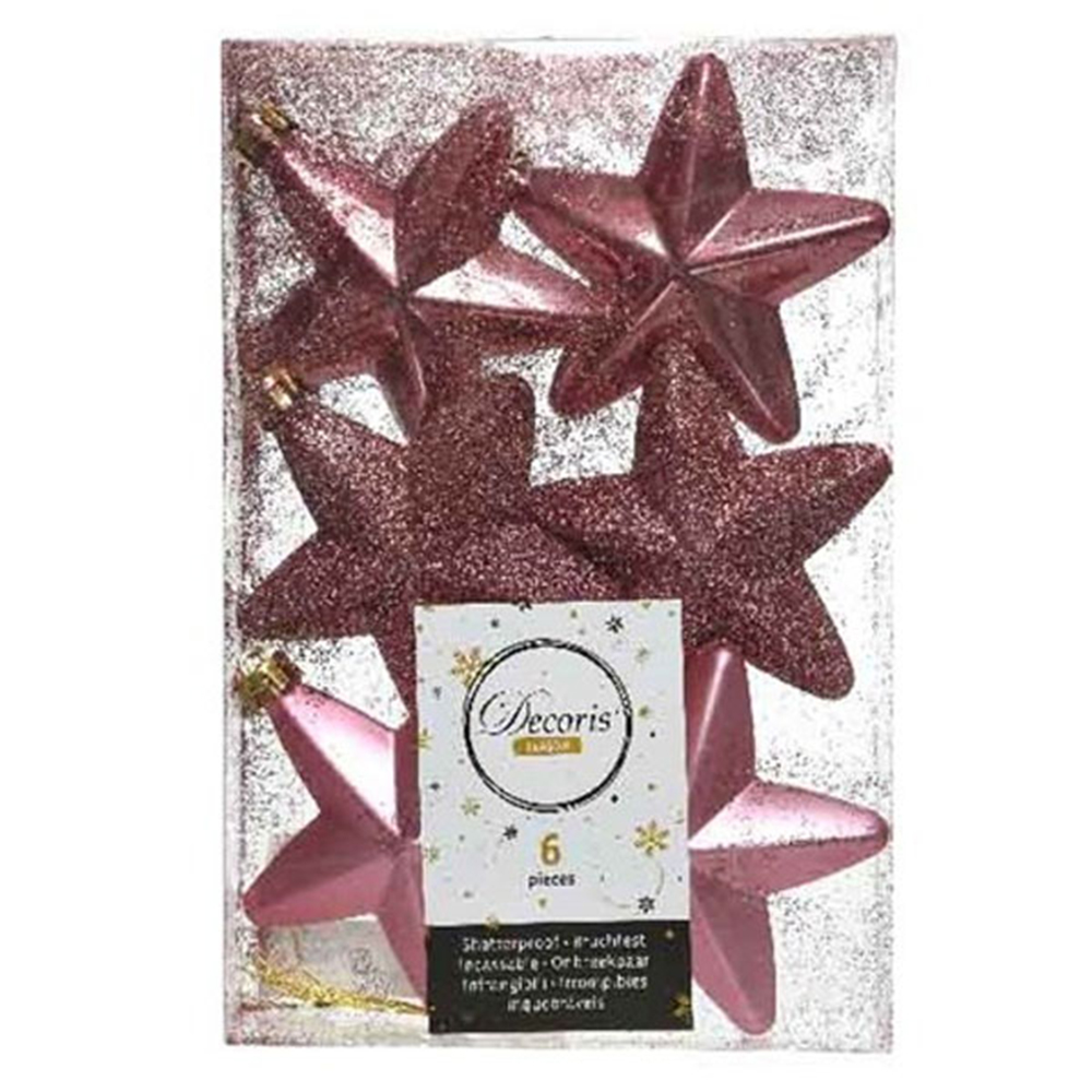 Pack Of 6 x 75mm Mixed Finish Shatterproof Star Hanging Decorations - Velvet Pink