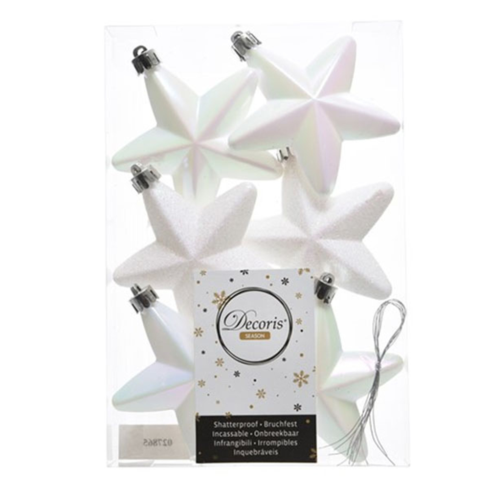 Pack Of 6 x 75mm Mixed Finish Shatterproof Star Hanging Decorations - White Iridescent