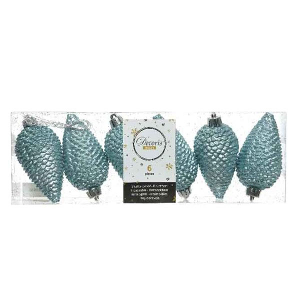 Pack Of 6 Arctic Blue Shatterproof Glitter Pinecone Decorations - 4.5cm X 8cm