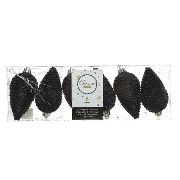 Pack Of 6 Black Shatterproof Glitter Pinecone Decorations - 4.5cm X 8cm