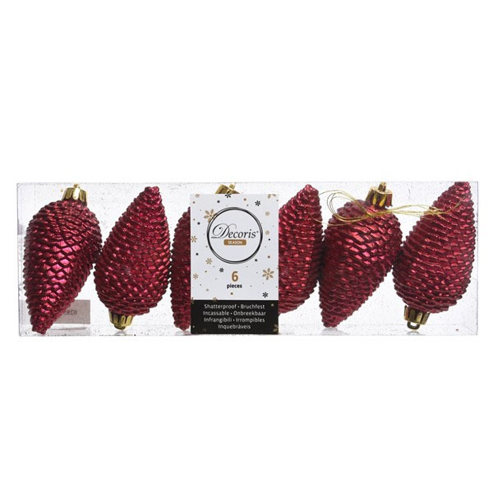 Pack Of 6 Dark Red Shatterproof Glitter Pinecone Decorations - 4.5cm X 8cm