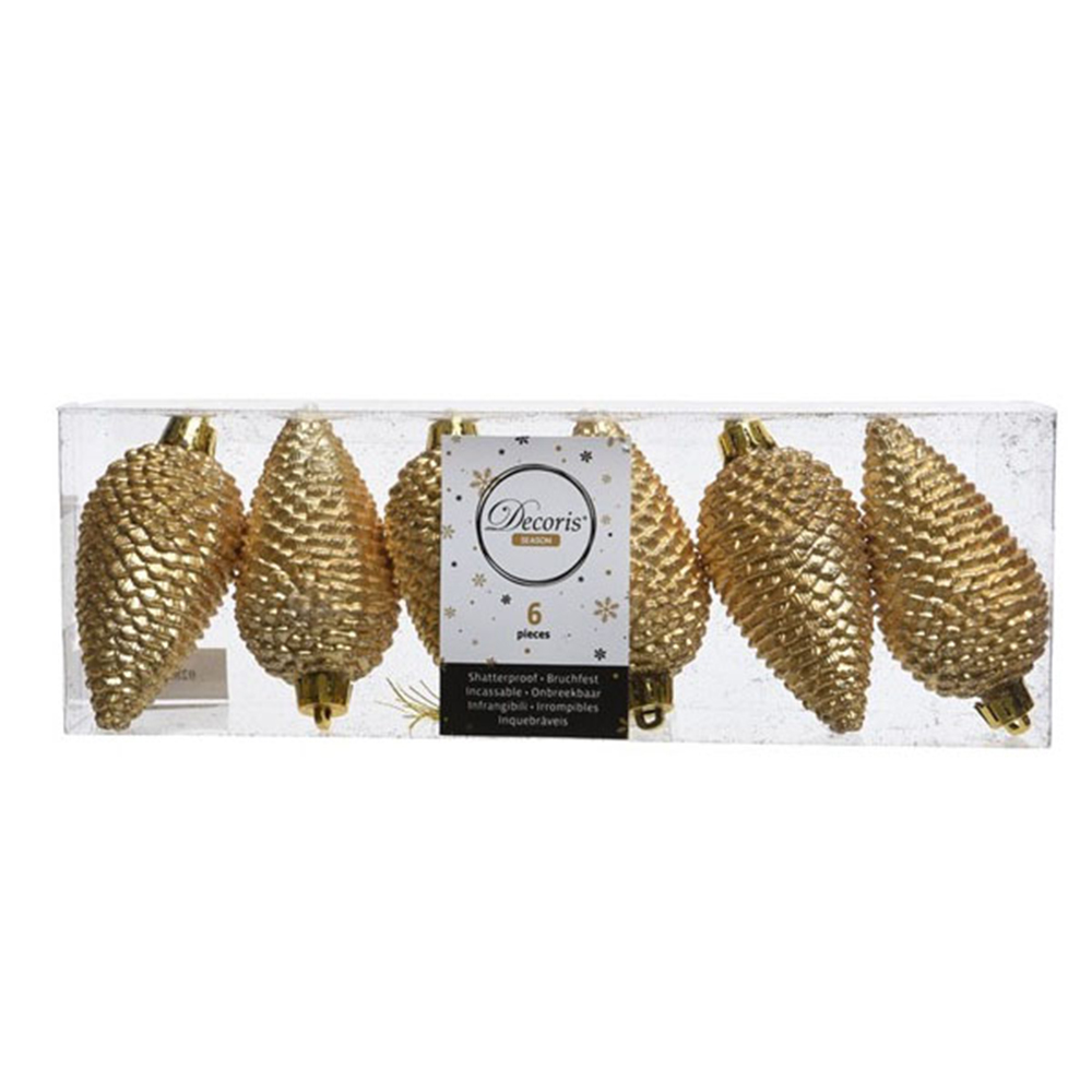 Pack Of 6 Gold Shatterproof Glitter Pinecone Decorations - 4.5cm X 8cm