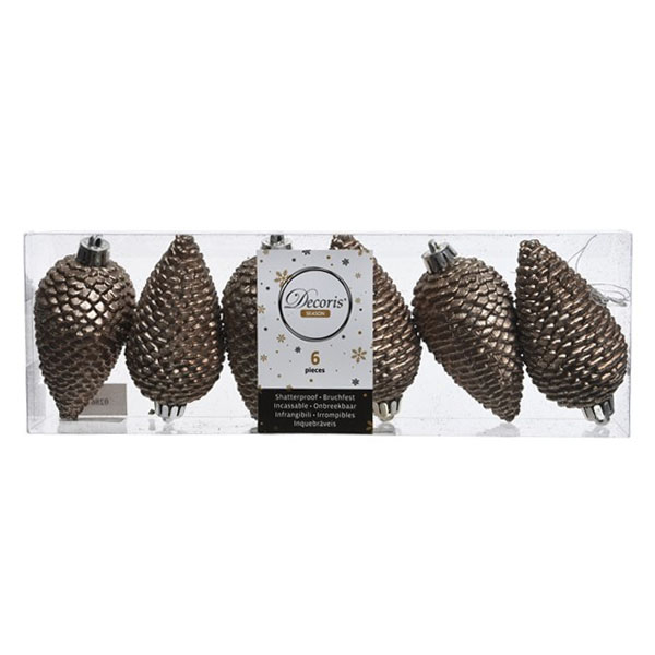 Pack Of 6 Pale Brown Shatterproof Glitter Pinecone Decorations - 4.5cm X 8cm