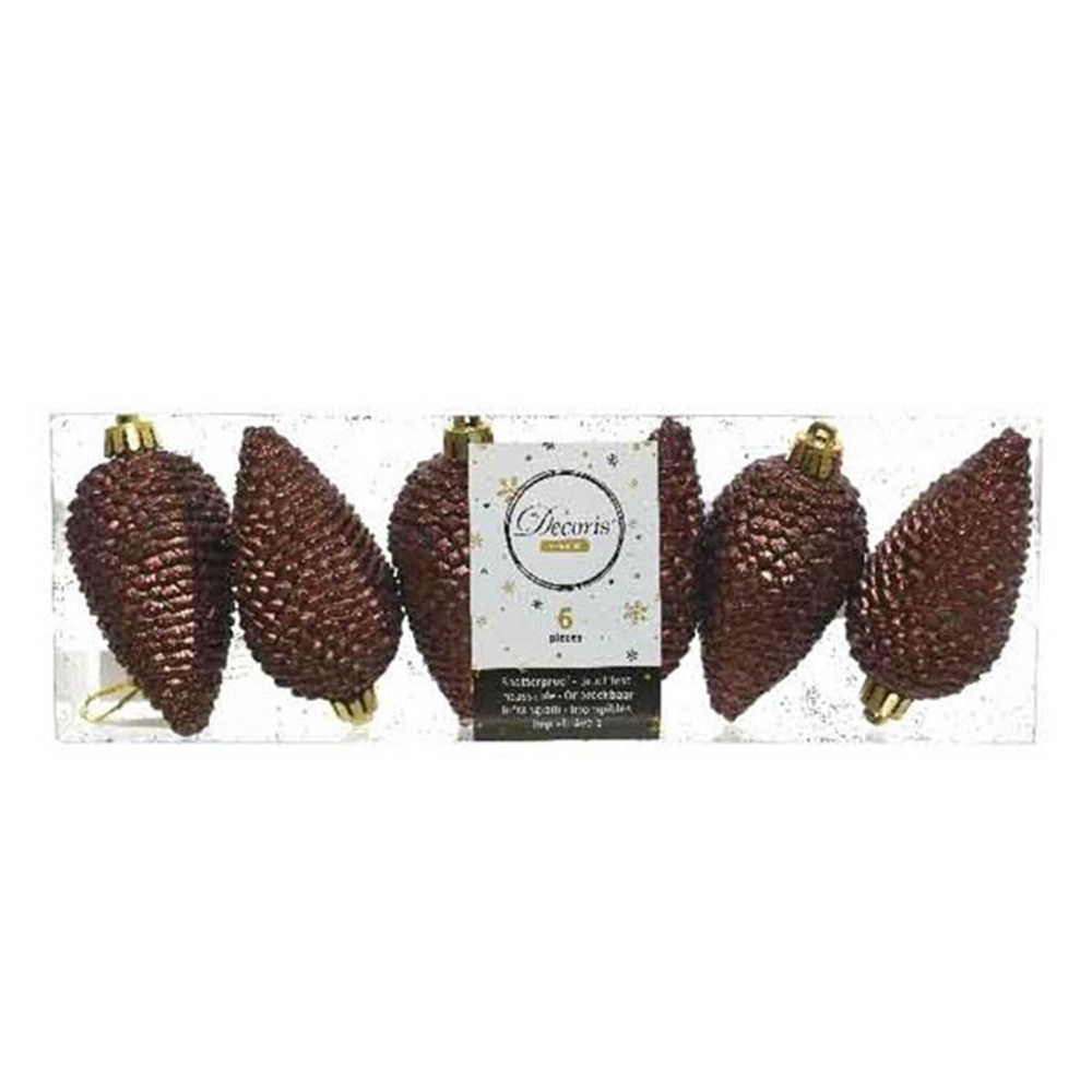 Pack Of 6 Rosewood Brown Shatterproof Glitter Pinecone Decorations - 4.5cm X 8cm