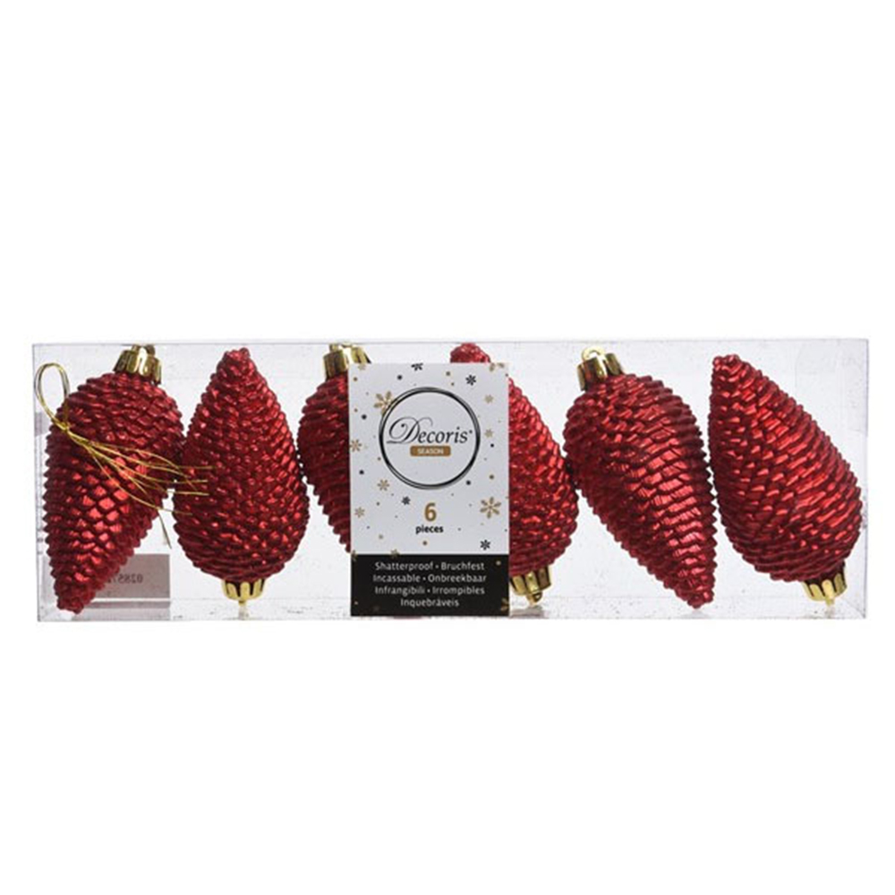 Pack Of 6 Christmas Red Shatterproof Glitter Pinecone Decorations - 4.5cm X 8cm