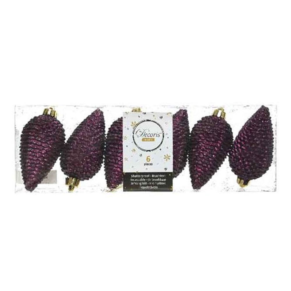 Pack Of 6 Royal Purple Shatterproof Glitter Pinecone Decorations - 4.5cm X 8cm