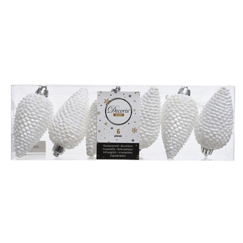 Pack Of 6 Winter White Shatterproof Glitter Pinecone Decorations - 4.5cm X 8cm