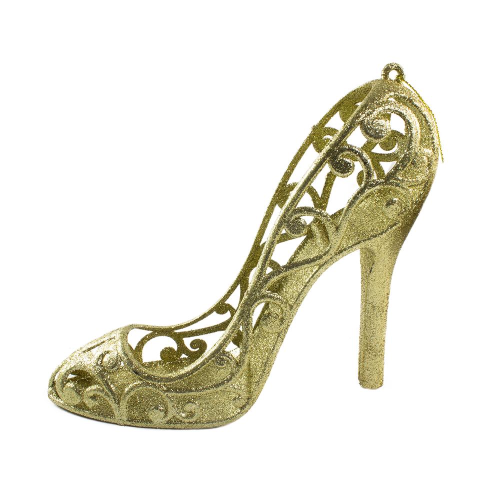 Gold Glitter Shoe Hanging Decoration - 16cm X 14cm