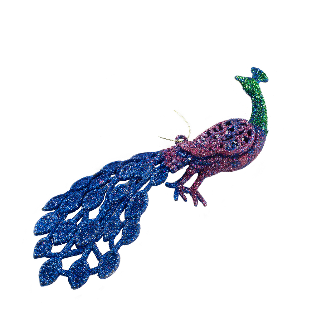 Glitter Finish Peacock Hanging Decoration - 19cm