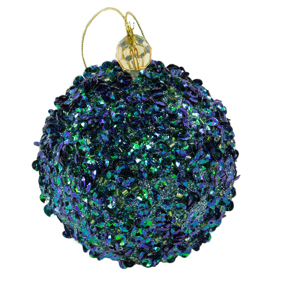 Blue & Green Glitter, Pearl & Sequin Hanging Ball Decoration