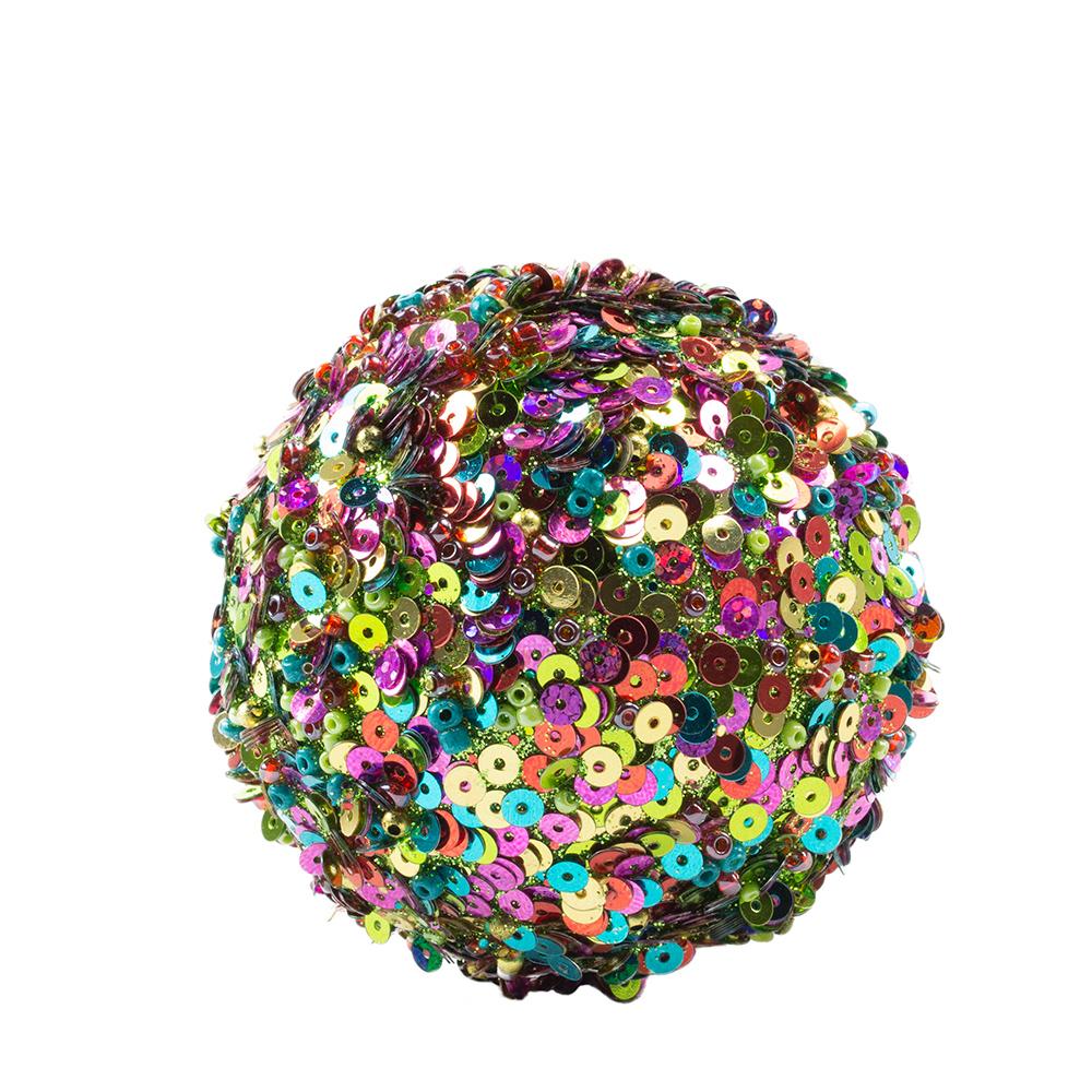 Multi Coloured Glitter, Pearl & Sequin Hanging Ball Decoration