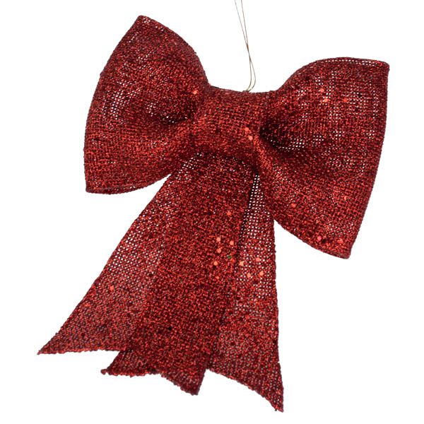 Red Glitzy Bow Decoration - 22cm X 30cm