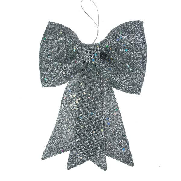 Silver Glitzy Bow Decoration - 23cm X 31cm