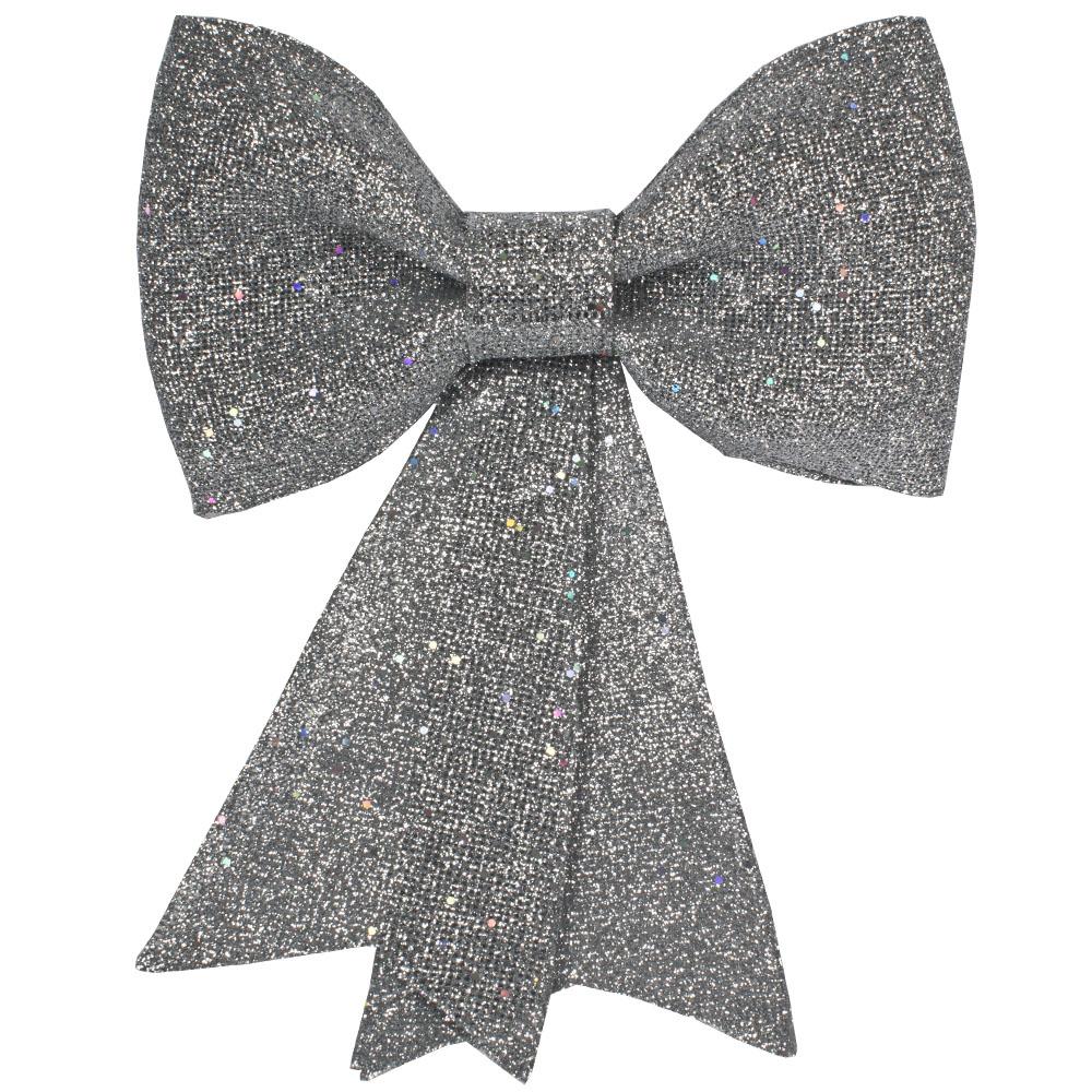 Silver Glitzy Bow Decoration - 31cm X 40cm