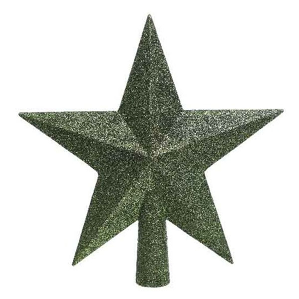 Dark Green Shatterproof Tree Top Glitter Star - 19cm