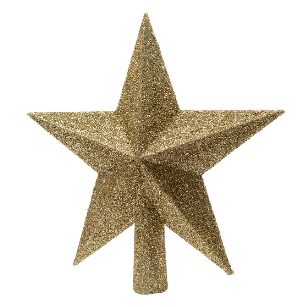 Gold Shatterproof Tree Top Glitter Star - 19cm