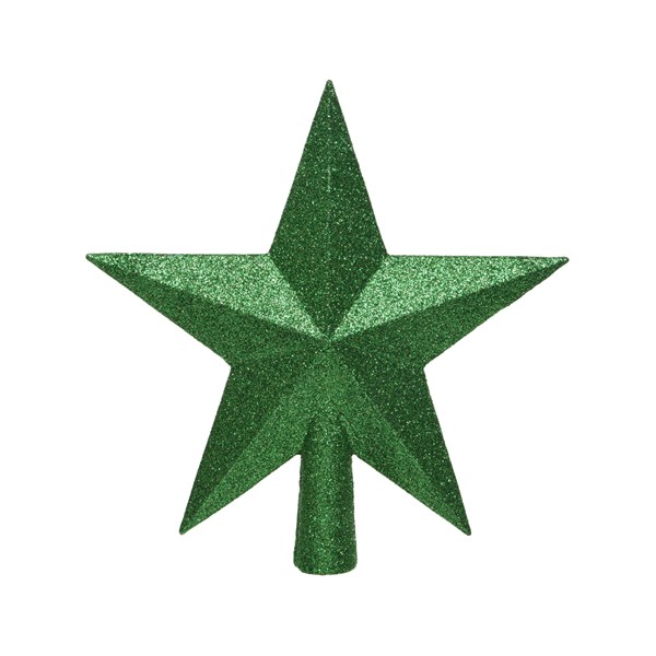 Holly Green Shatterproof Tree Top Glitter Star - 19cm