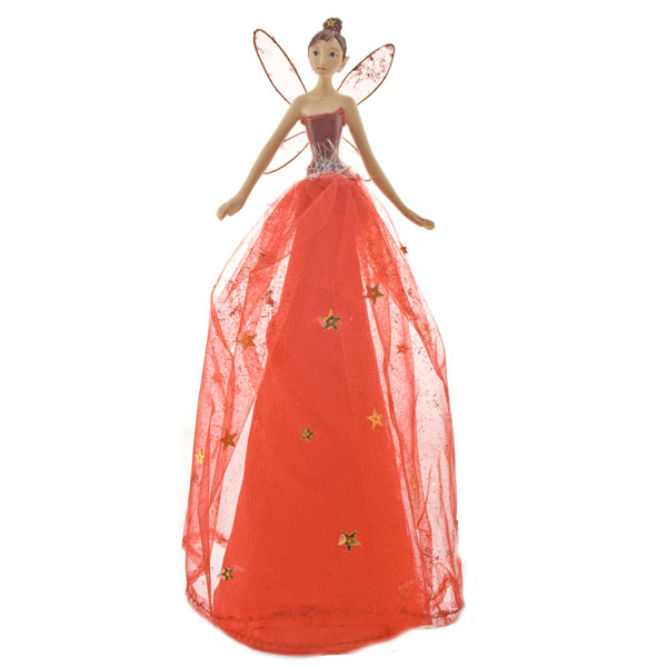 Gisela Graham Sheer Red Tree Top Fairy - 28cm