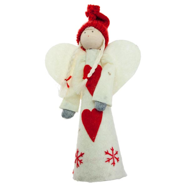 Gisela Graham Christmas Tree Topper: Gisela Graham Red & White Felt Angel Tree Topper
