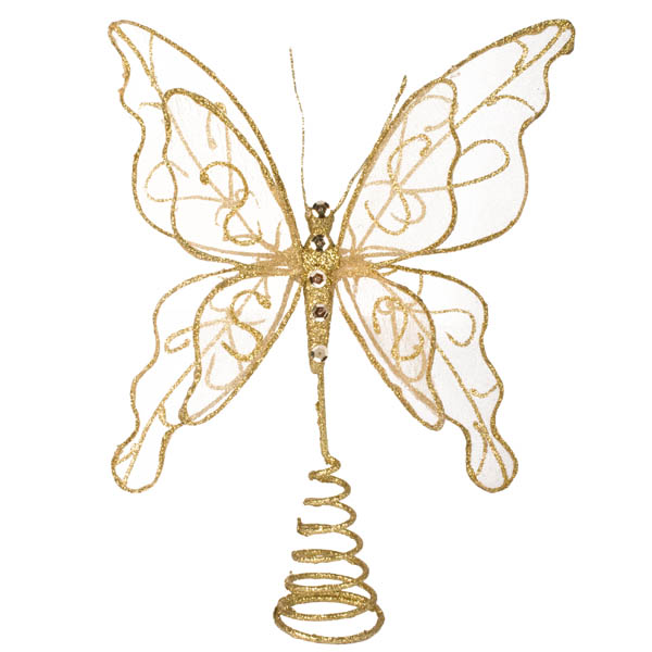 Gilt Wired Champagne Gold Tree Top Butterfly - 22cm