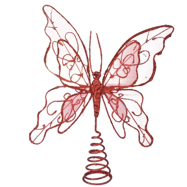 Gilt Wired Red Tree Top Butterfly - 22cm