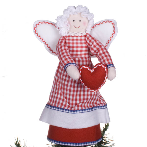 Cat Angel Christmas Tree Topper: Folklore Angel Fabric Tree Topper