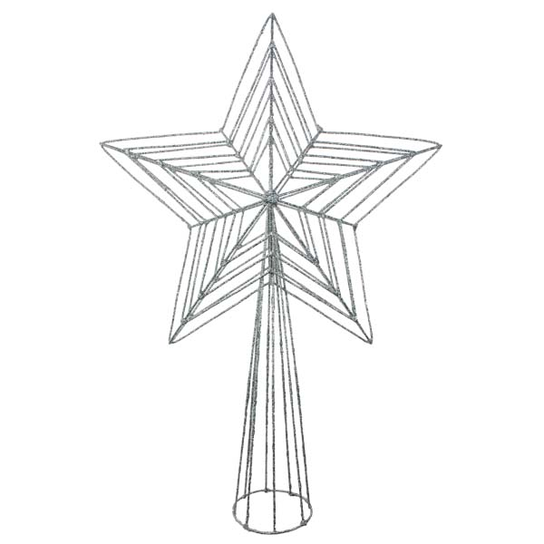 Silver 3D Wire Mesh Glitter Tree Top Star - 22cm