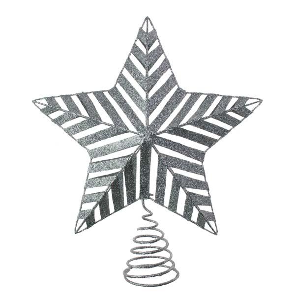 Silver 3D Glitter Metal Tree Top Star - 22cm