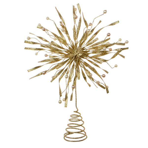 Gold Glitter & Bead Metal Tree Top Star - 22cm