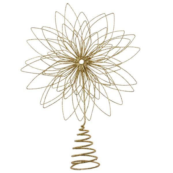 Gold Glitter Metal Tree Top Star - 30cm