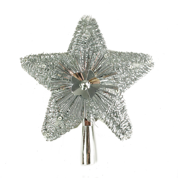 Silver Tinsel Tree Top Star - 23cm