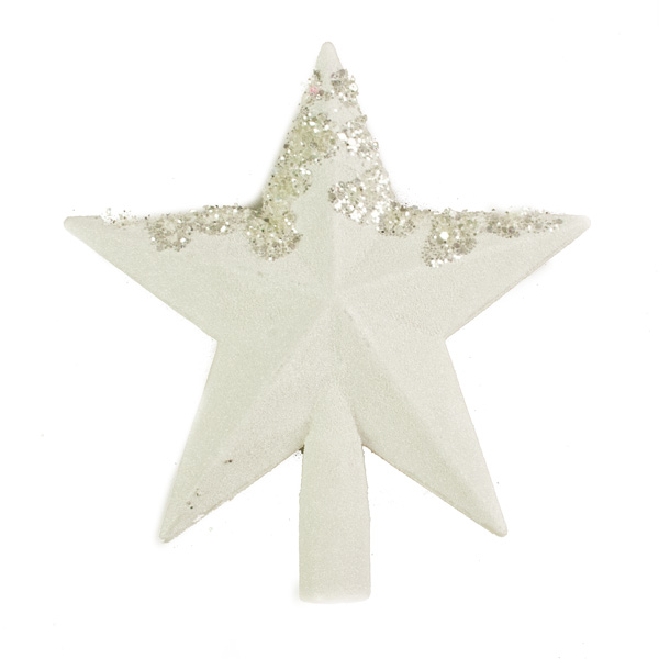 White Glittering Shatterproof Tree Top Star - 19cm