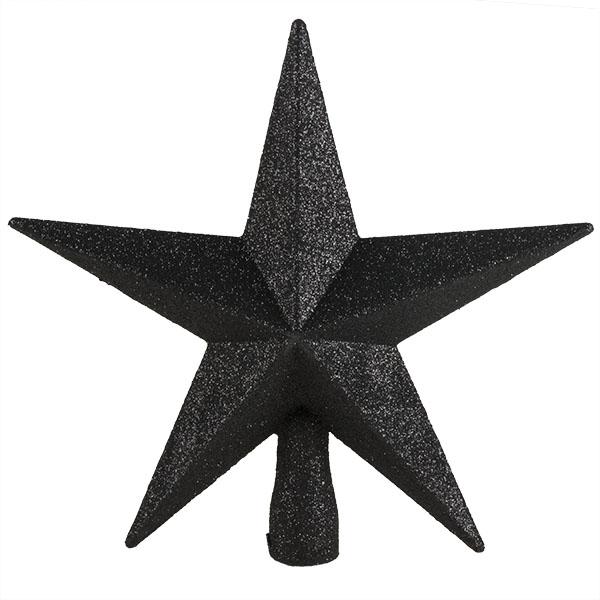 Black Glitter Finish Tree Top Star -20cm