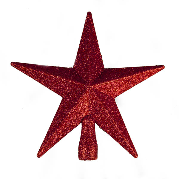 Red Glitter Finish Tree Top Star -20cm