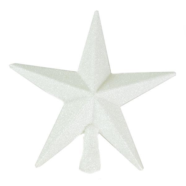 White Glitter Finish Tree Top Star -20cm