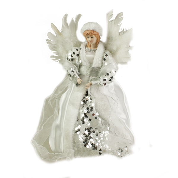 Silver And White Tree Top Angel With Feather Wings - 30cm