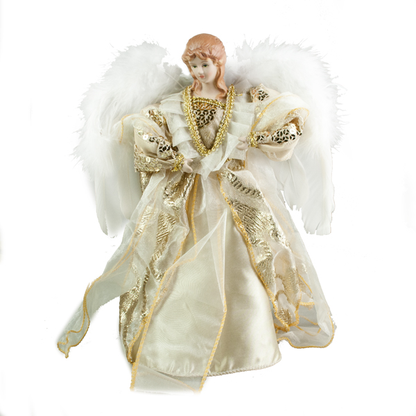 Gold And Ivory Tree Top Angel - 30cm